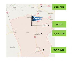 מפת האזור של תחנת הכוח התרמו סולארית באשלים