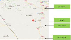 מפת אזור תחנת הכח התרמו סולארית באשלים