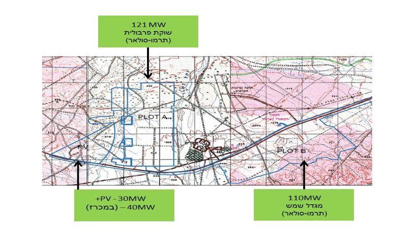 שרטוט תחנות הכוח הסולאריות באזור אשלים